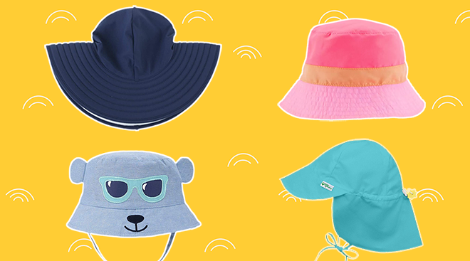 Collage of four toddler sun hats on pattern background.