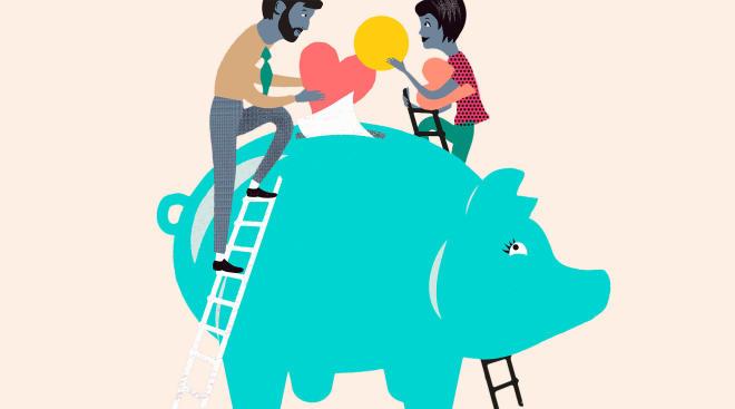 illustration of parents putting money into a large piggy bank