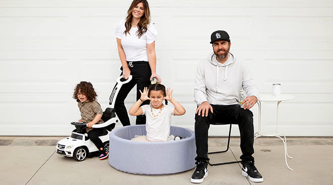 writer leslie bruce and her family outside their garage