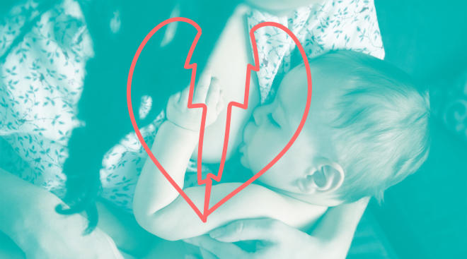 blue filter gradient photo treatment over image of mom breastfeeding with a broken heart illustration overlay
