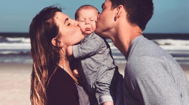 family snapshot at the beach
