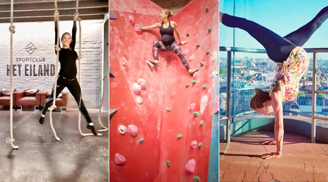pregnant woman doing extreme sports such as rock climbing