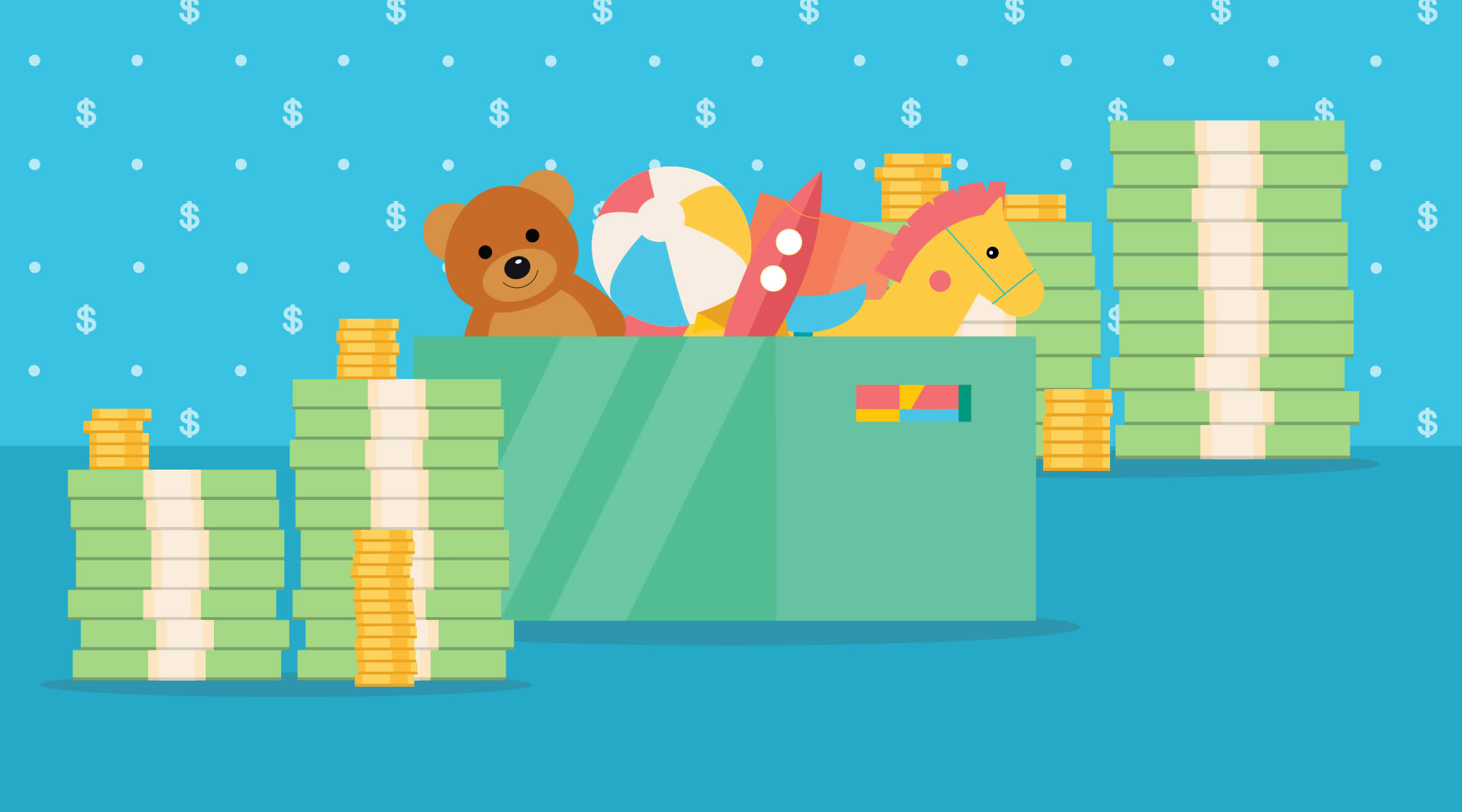 illustration of toy box and stacks of money