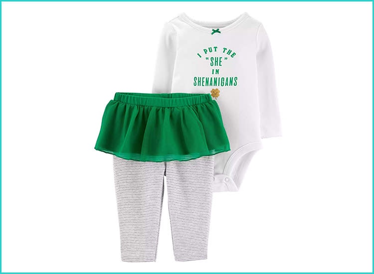 Carter s Baby Girls  St. Patrick s Day Bodysuit and Tutu Pant Set bd298f13a528