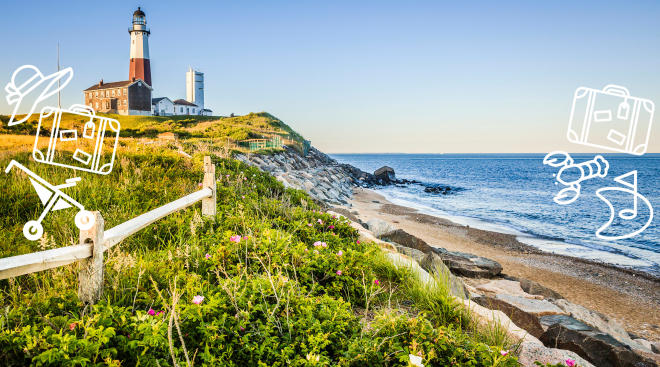 lighthouse and beach in the hamptons