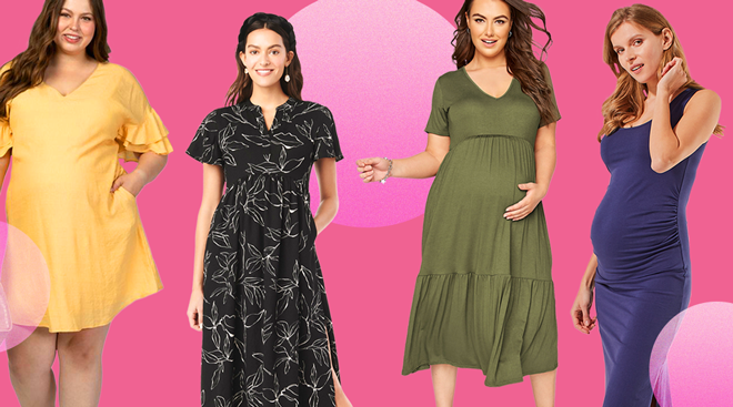 Trendy maternity dresses on models on a color background.