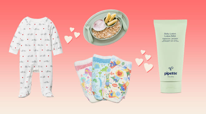 collage of products that are on sale for valentine's day, including a janie and jack baby onesie, pipette baby lotion, honest co. diapers and ezpz toddler plate