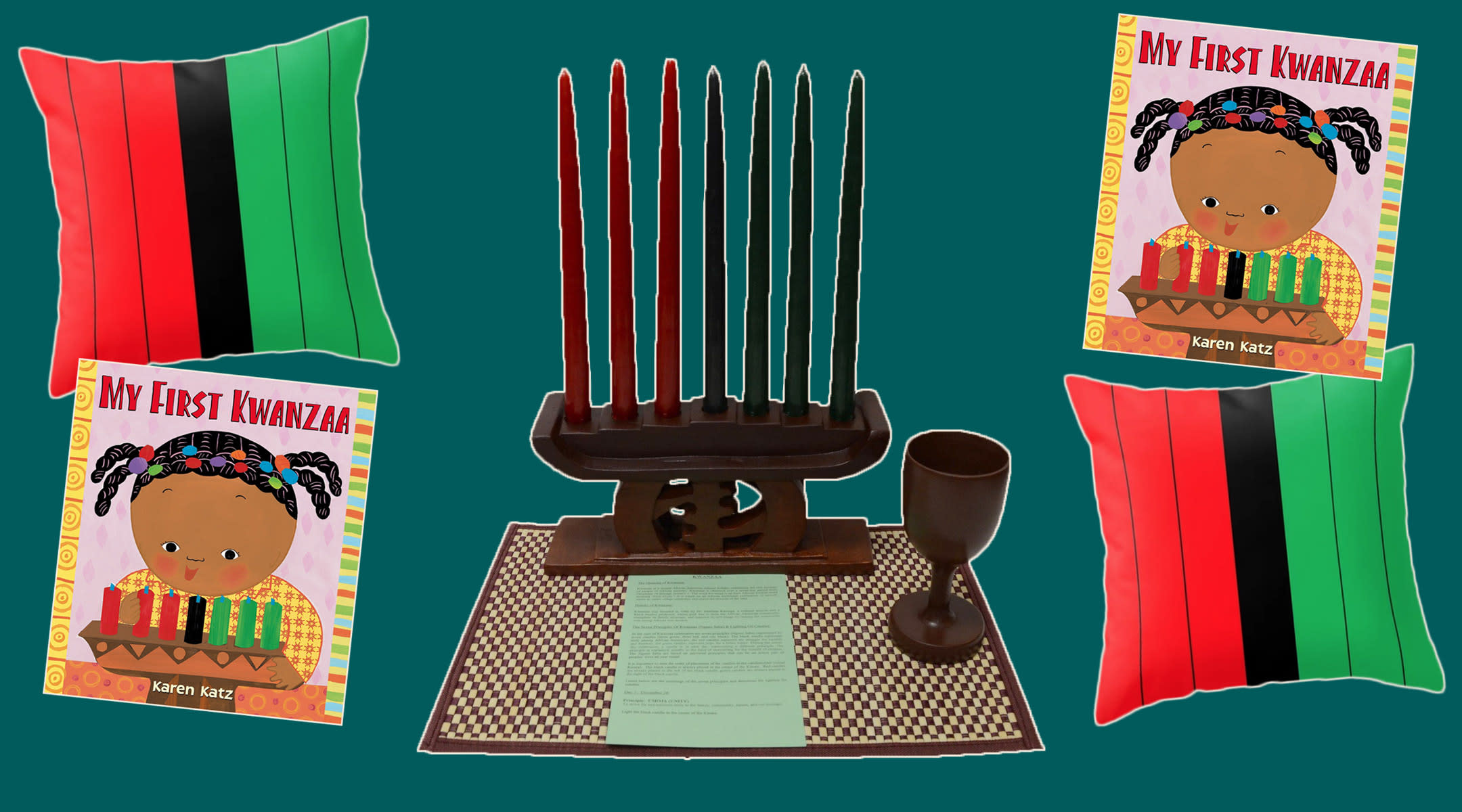 kwanzaa gift guide, pillow, candles, book