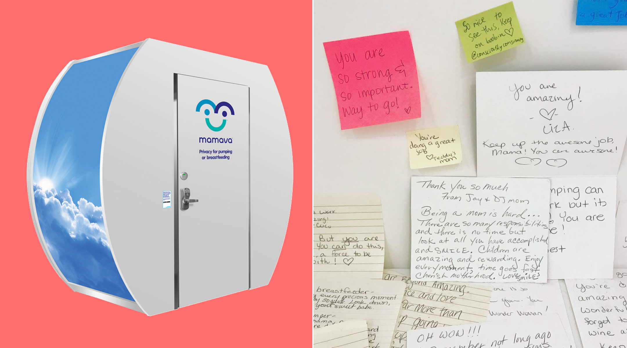 mamava breastfeeding room, moms have started leaving encouraging notes to each other