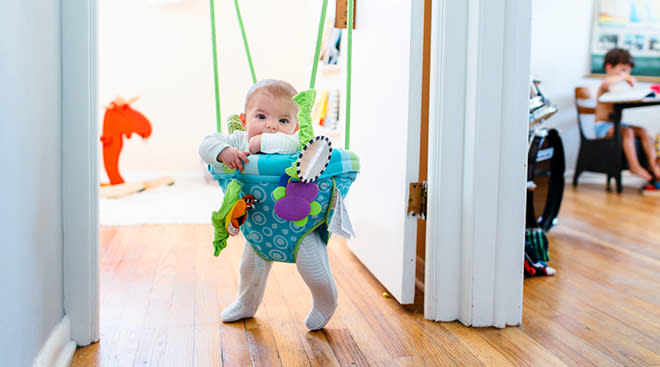 baby at home relaxing in jumper