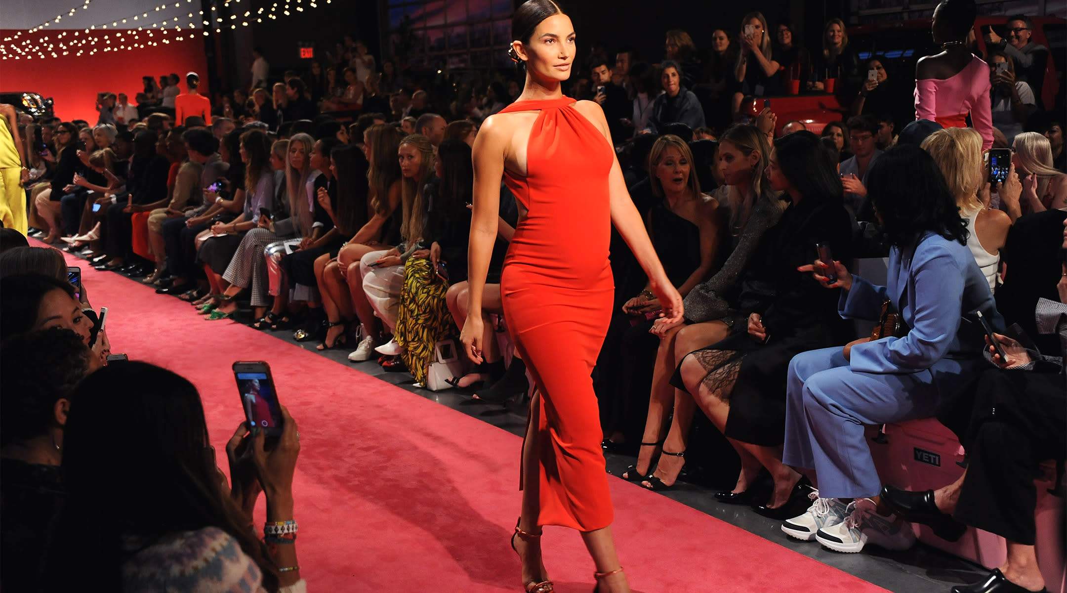 victorias secret model lily aldridge walks the brandon maxwell runway 5 months pregnant