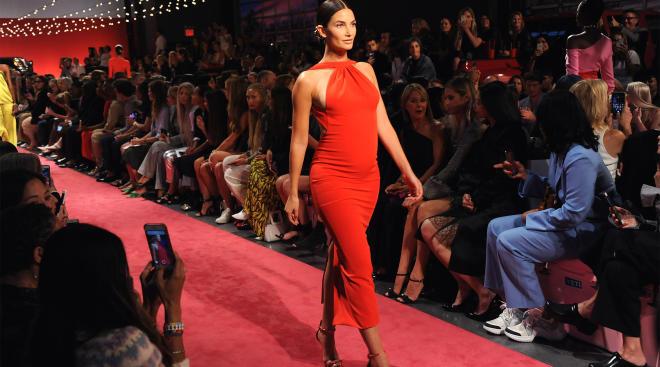 victorias secret model lily aldridge walks the brandon maxwell runway 5 months pregnant
