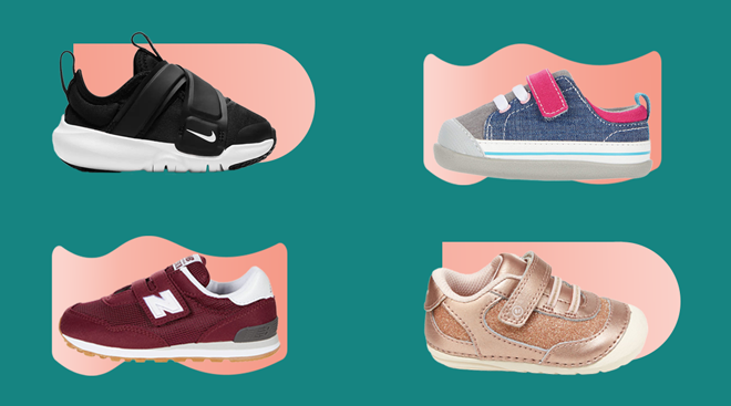 Baby shoe products in a collage on color background.