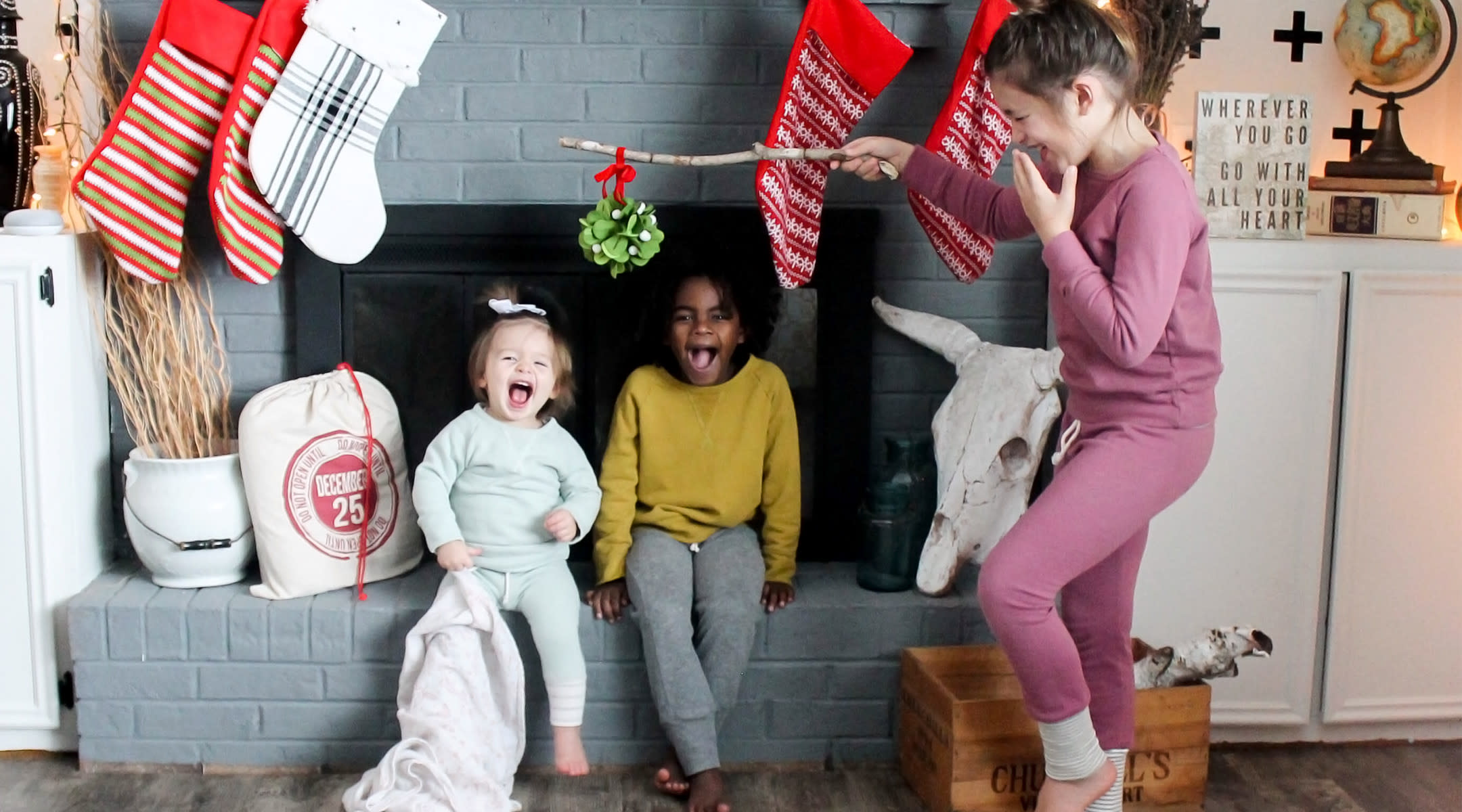 kids having fun underneath their stockings