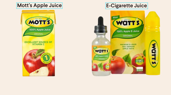 e-cigarette juice package almost the same as kids mott apple juice