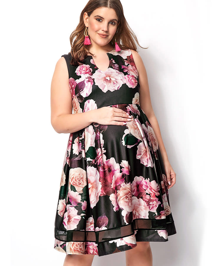 c0878227bfc45 summer-maternity-dress-yours-clothing-plus-size-floral-