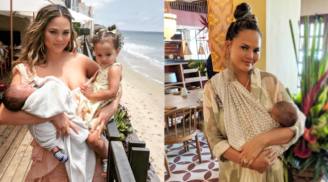chrissy teigen pictured with her kids, announces that she's coming out with a new cookbook for kids