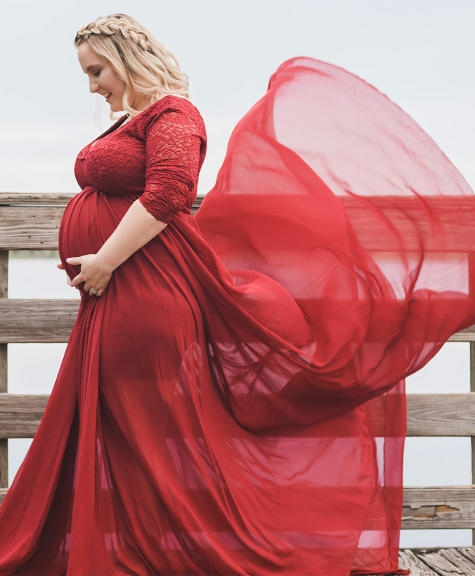 14 Red Maternity Dresses For Every Occasion