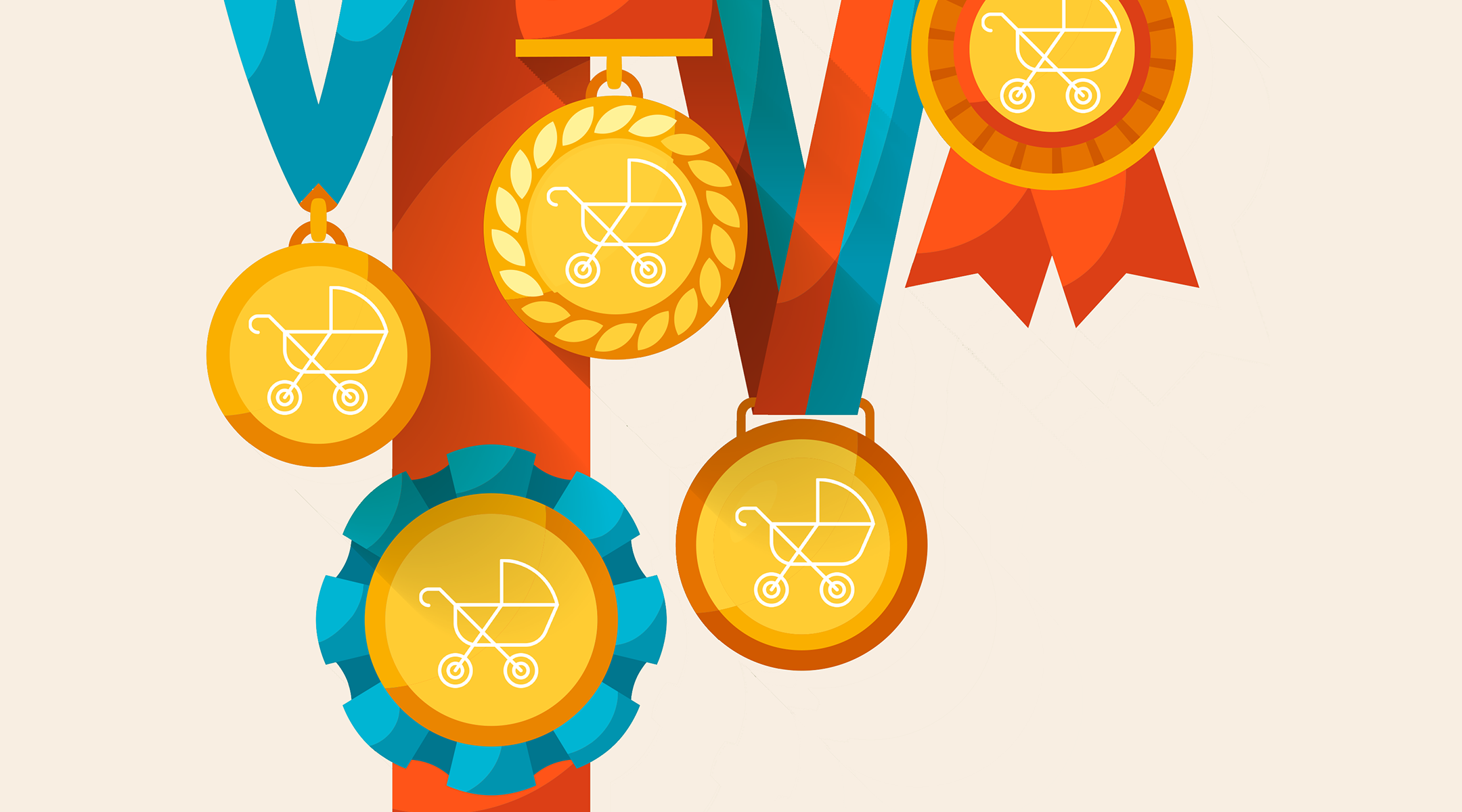 5 illustrated medals with stroller icon on each