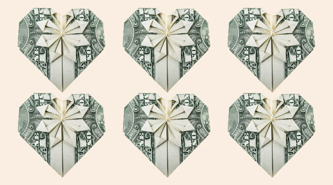 money folded into the shape of hearts