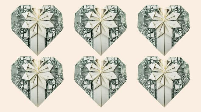 money folded into the shape of hearts