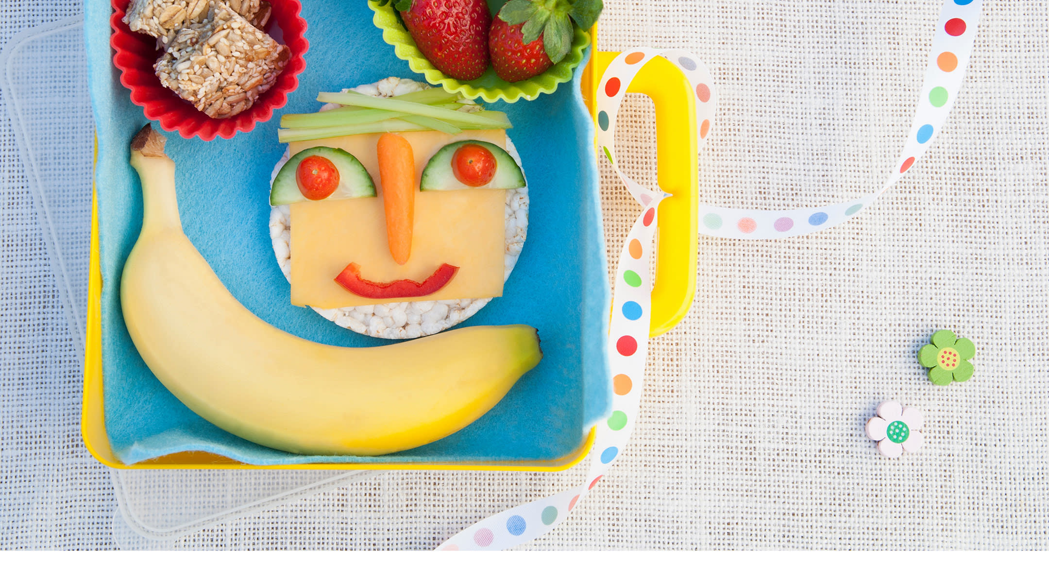 Playful kids lunch with smiley face