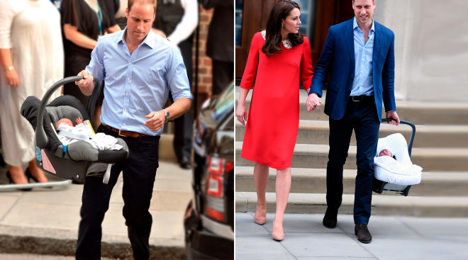 kate middleton and prince william side by side photo of george in car seat and new baby in car seat