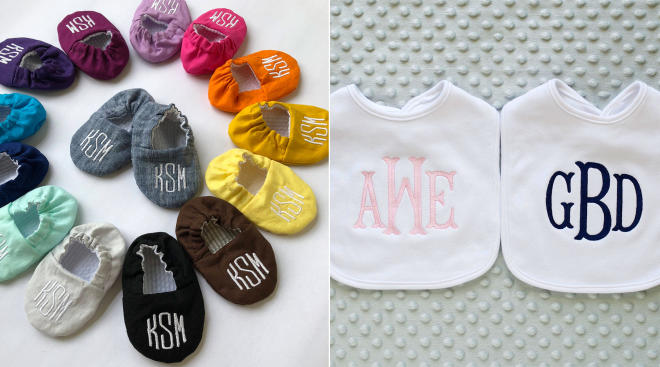 colorful monogrammed baby shoes and bibs