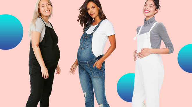 Collage of models wearing maternity overalls, brands included are Storq, Motherhood Maternity and Hatch.