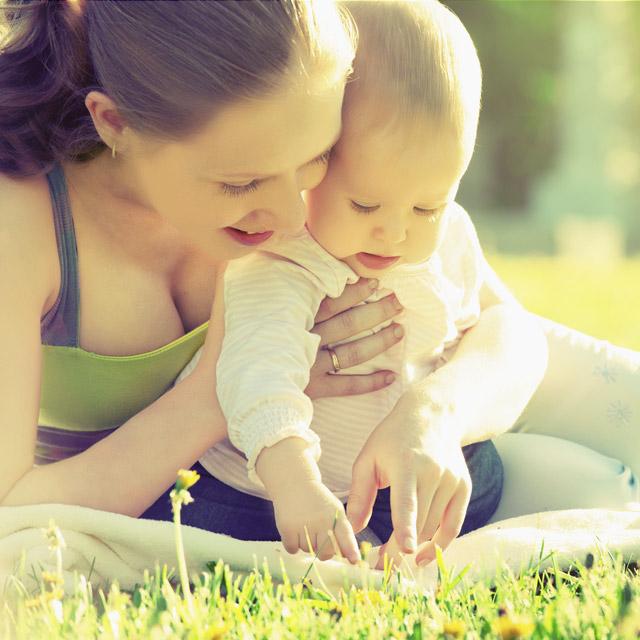 Eco friendly mom baby outside