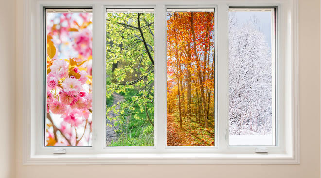 four windows that each show characteristics of the four seasons