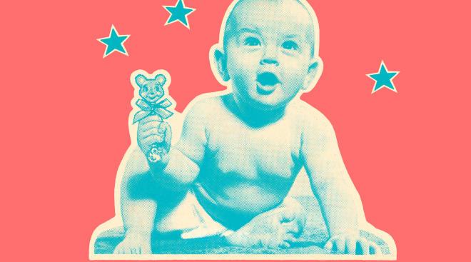 retro illustration of baby