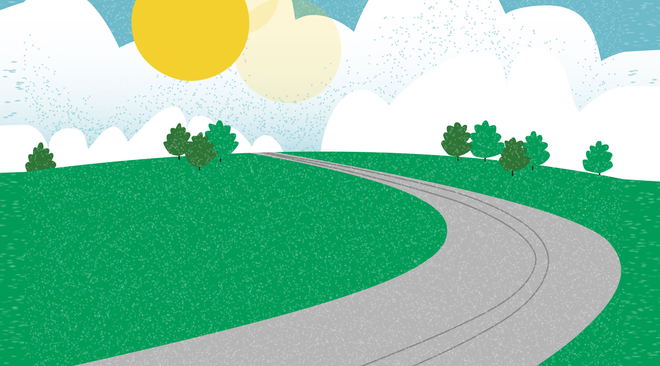 Illustration of scenic curving road with lush green and shining sun.