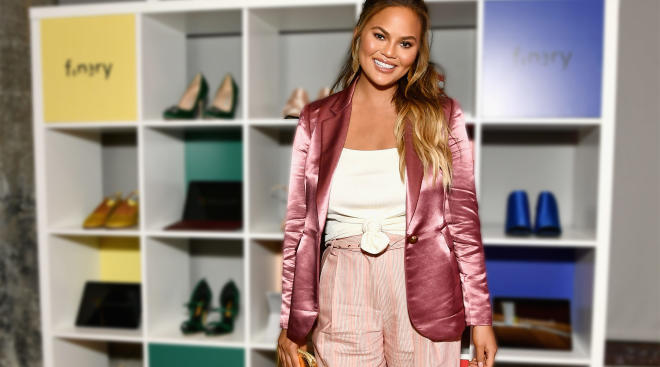 chrissy teigen talks about her daughter's first day of preschool and how she threw up.