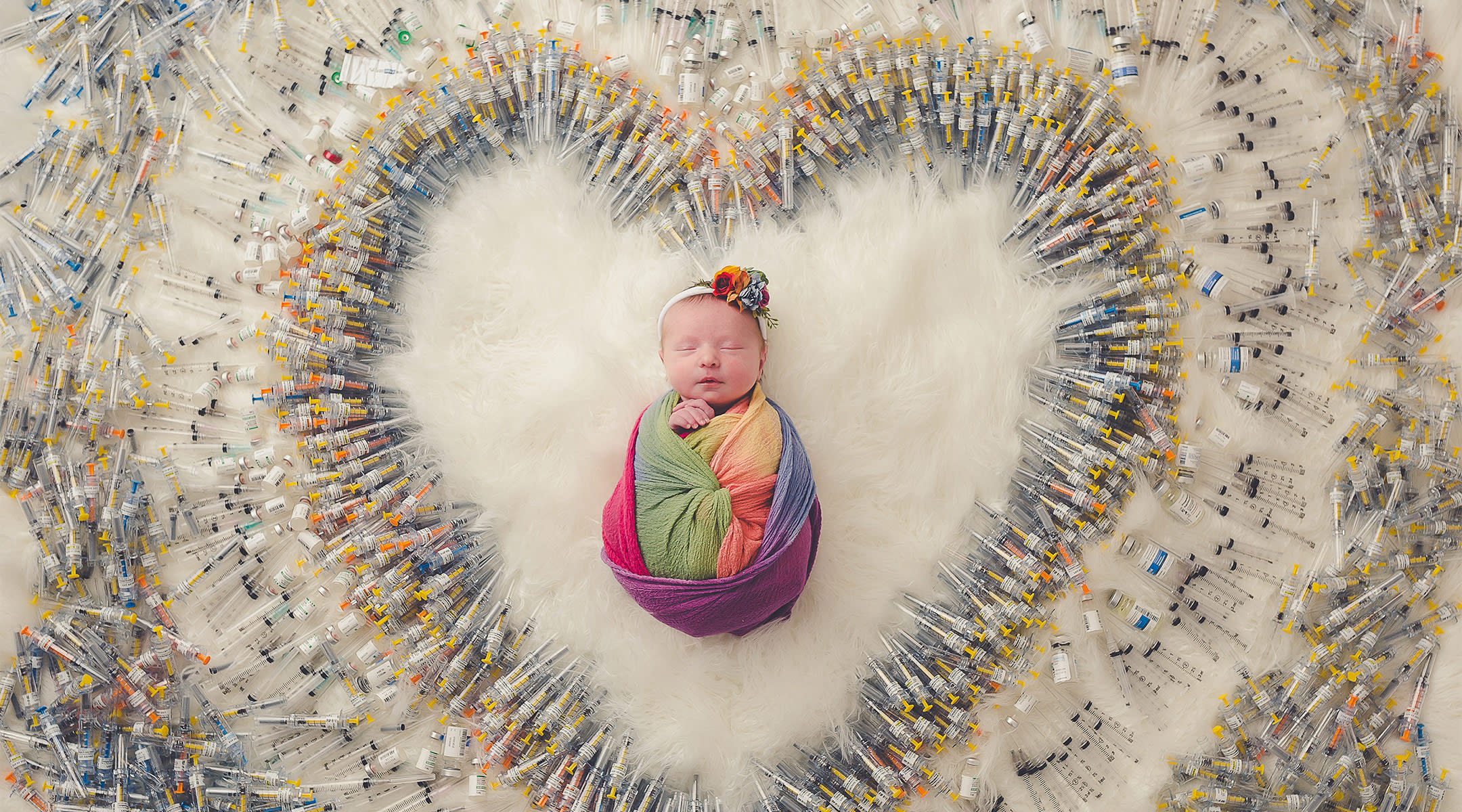 image of one couple's rainbow baby and the process of ivf represented in the fertility treatment shots.
