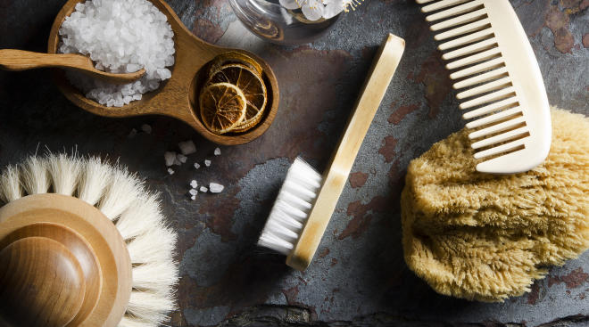 spa treatment products, brushes, scrubs