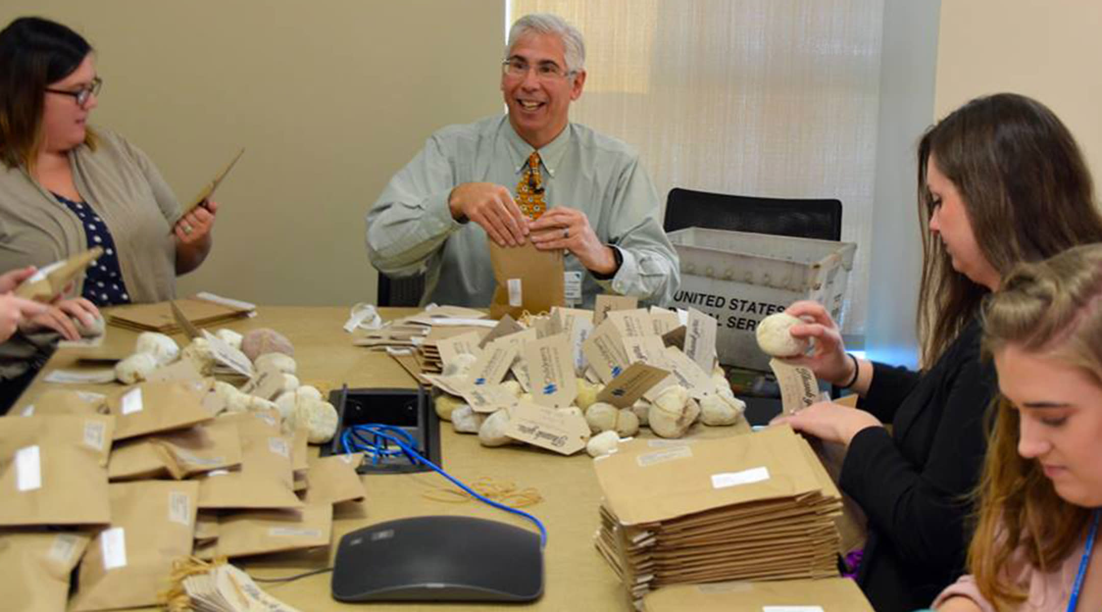 Dr. Margolis packaging rocks for Children's Hospital of Wisconsin
