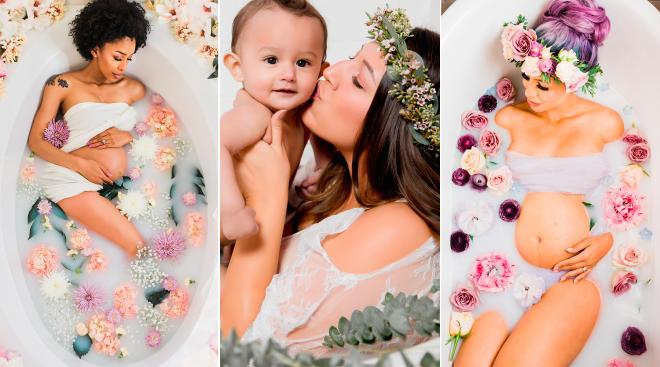 women posing milk baths and florals