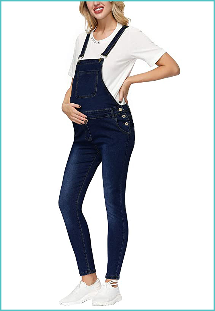 Beloved Womens Fashion Ripped Comfortable Denim Maternity Bib Overall