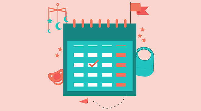 Illustration of calendar with baby accessories surrounding it.