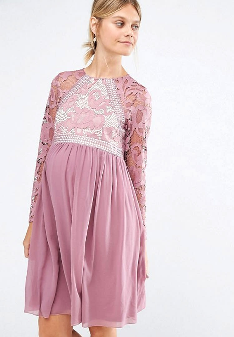 7792638a4827 Little Mistress Maternity sleeve maternity bridesmaid dress