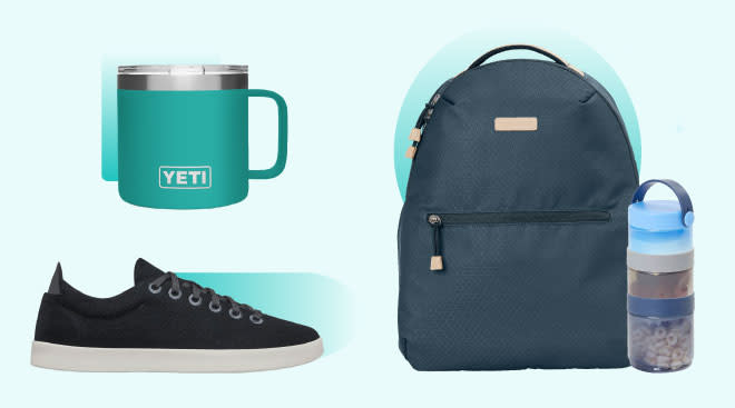 Product collage of new dad gifts, including yeti ramble mug, skip hop diaper backpack and allbirds sneakers
