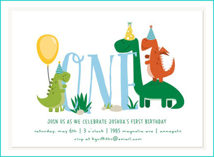 Simply To Impress Dinosaur First Birthday Invitations