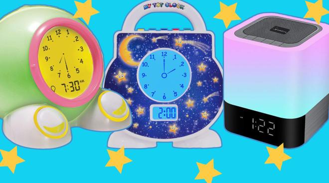 collage of best kids alarm clocks