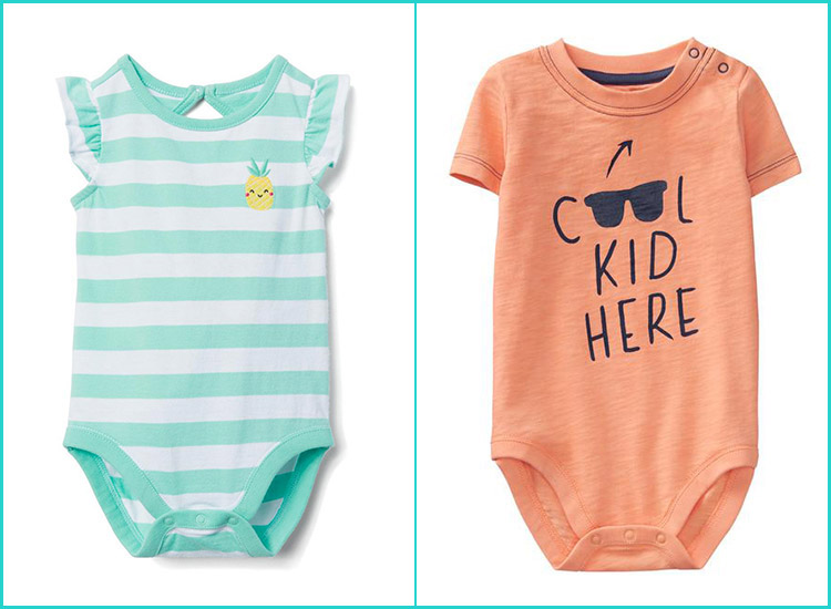 Little Bee Baby Bodysuit Orange with Black Print cute babygrow NEW