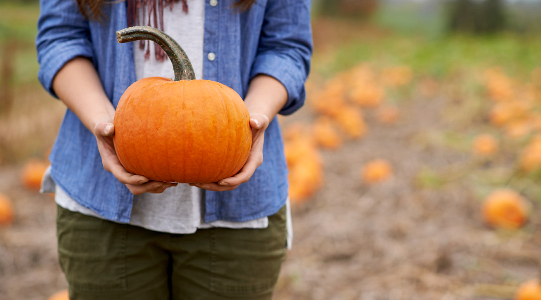 Woman holding pumpkin in front of her stomach
