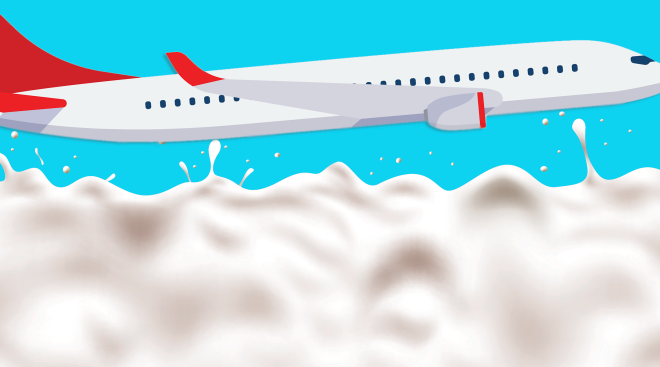 illustration of airplane traveling in the sky with milk splatters