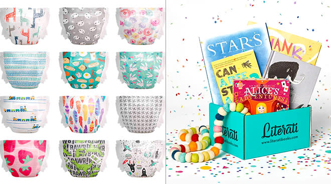 two of the best baby subscription services, honest diapers and literati kids book club