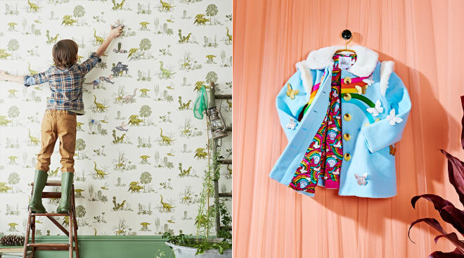 etsy design award winners, magnetic dinosaur wallpaper and rainbow raincoat