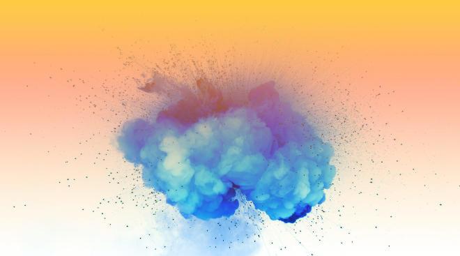 blue powder smoke with gradient overlay